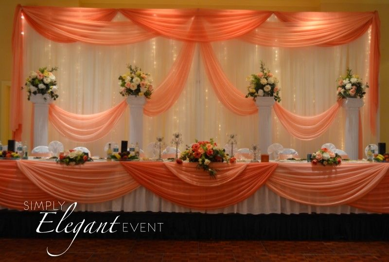 2 Panel Kit Backdrop White Backdrop With Peach And Coral Draping