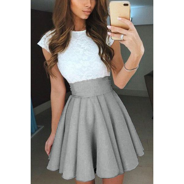 Yoins Grey Skater High-waisted Mini Skirt With Elastic Band ($19 ...
