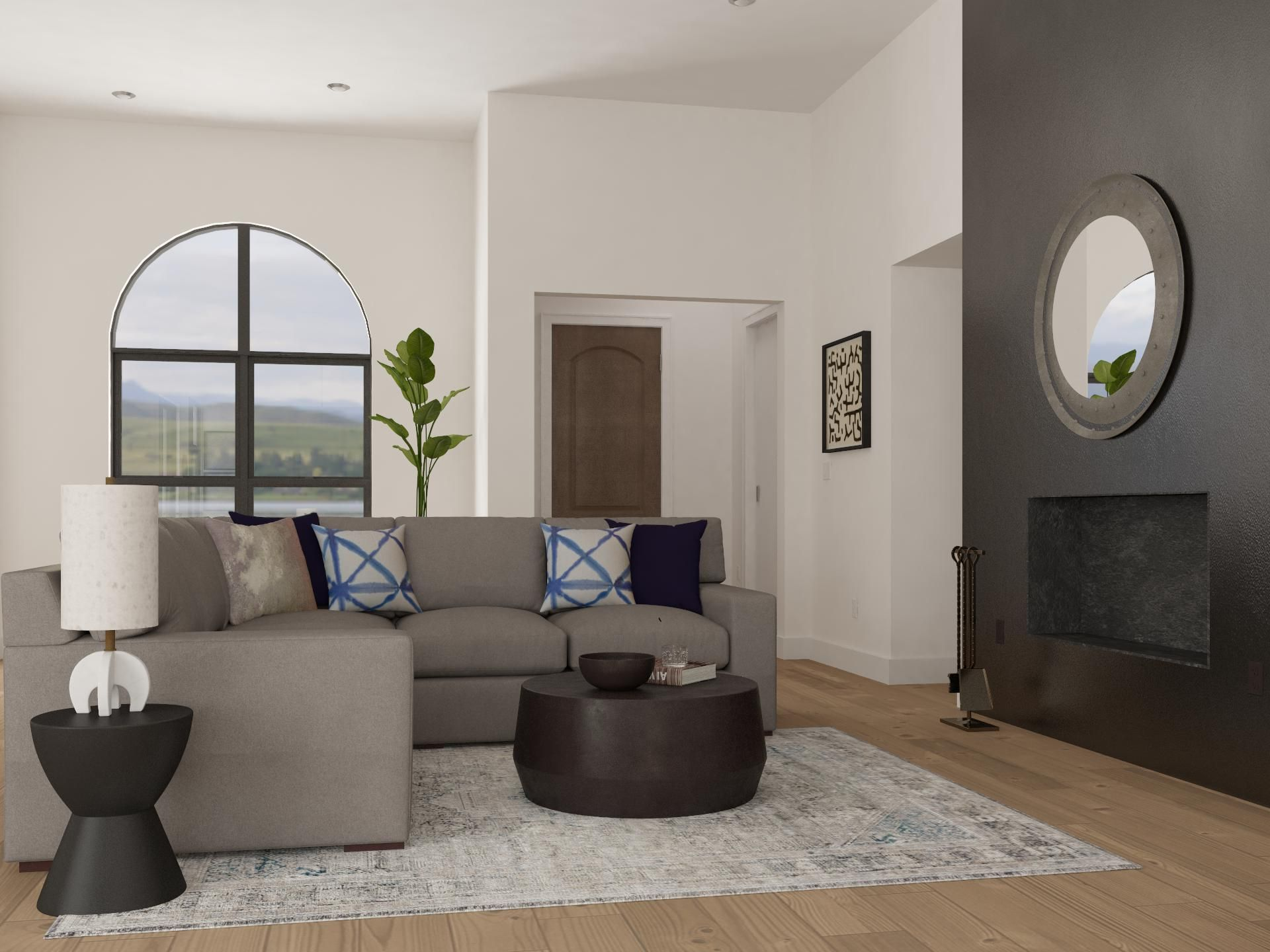11 Ways To Lay Out A Living Room With Fireplace Design Modsy Blog In 2020 Living Room With Fireplace Contemporary Living Room Design Fireplace Design