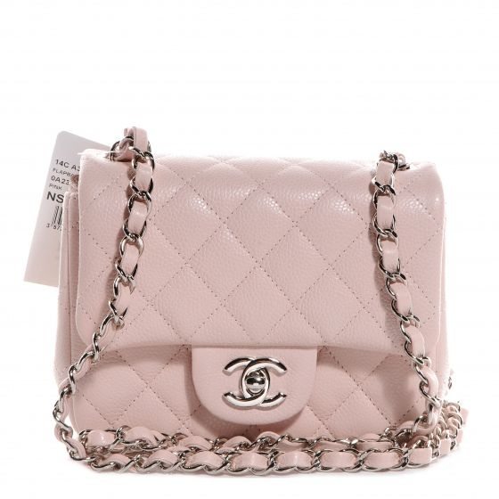 This is an authentic CHANEL Caviar Quilted Square Mini Flap in Light Pink -  NEW. This chic baguette is crafted of textured diamond quilted leather. 19a9cdc78c98e
