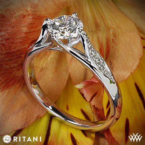 469a7675c12e5 Platinum Ritani 1RZ1379 Vintage Tulip Diamond Engagement Ring ...