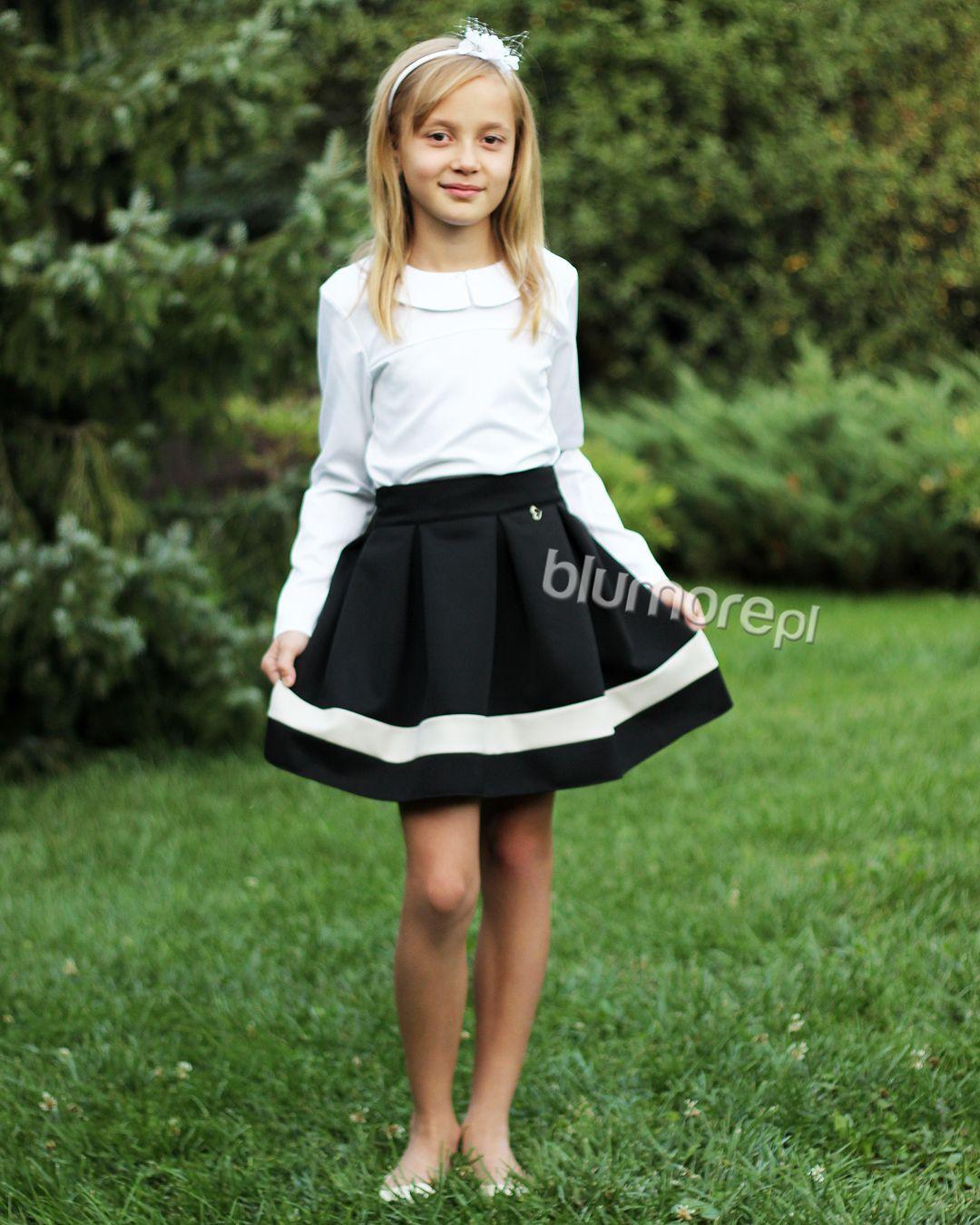 2f4ff4f6 Spódnica z koła z koronką 122-158 Gloria czarny | Dla dziewczynek ...