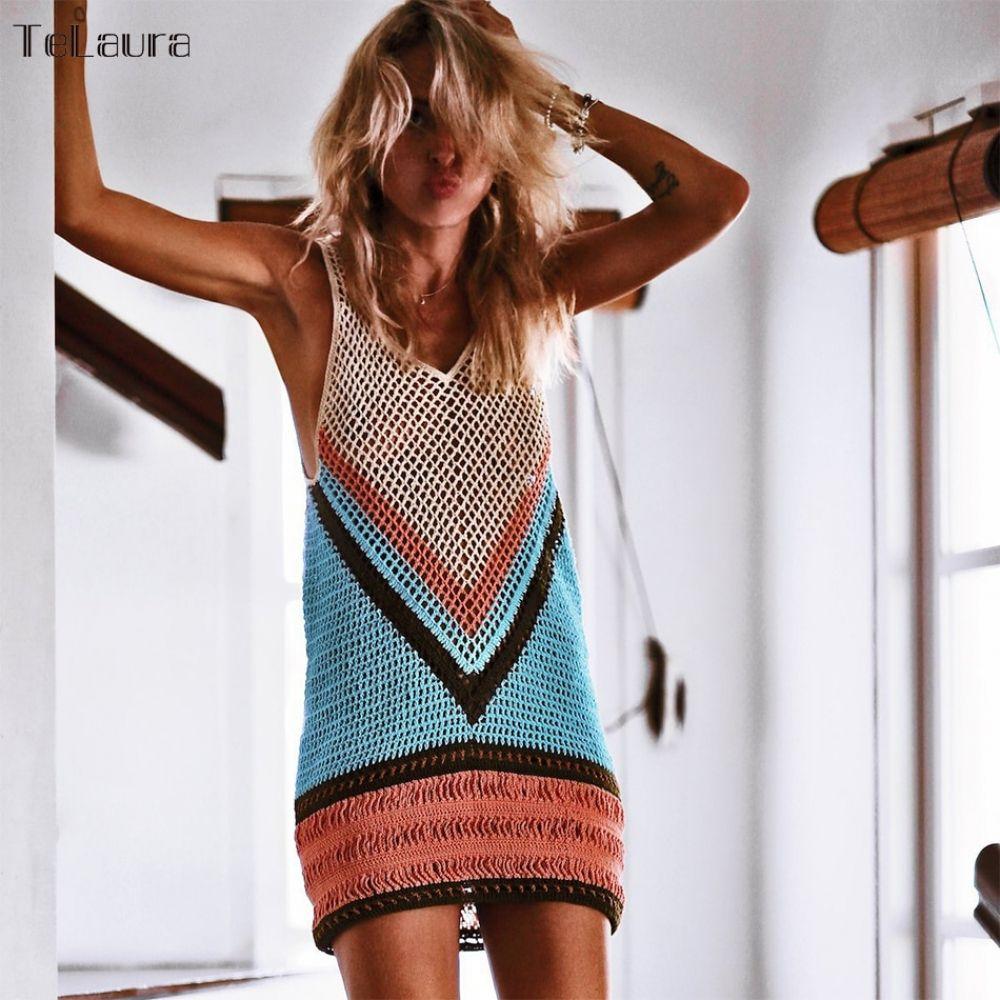 Women's hot summer net cover up #crochetbeachdress