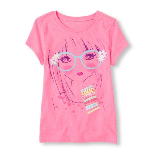 Image for Girls Short Sleeve Glasses Girl Graphic Tee from The Children's Place
