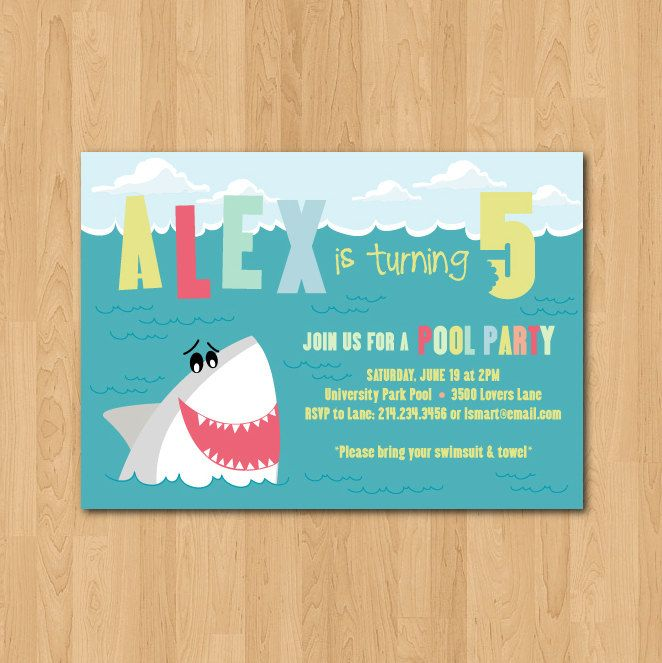 Printable shark themed birthday party invitation themed birthday printable shark themed birthday party invitation filmwisefo Images
