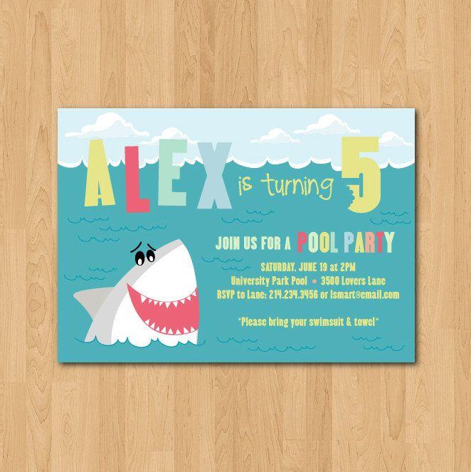 printable shark themed birthday party invitation  birthday party, party invitations