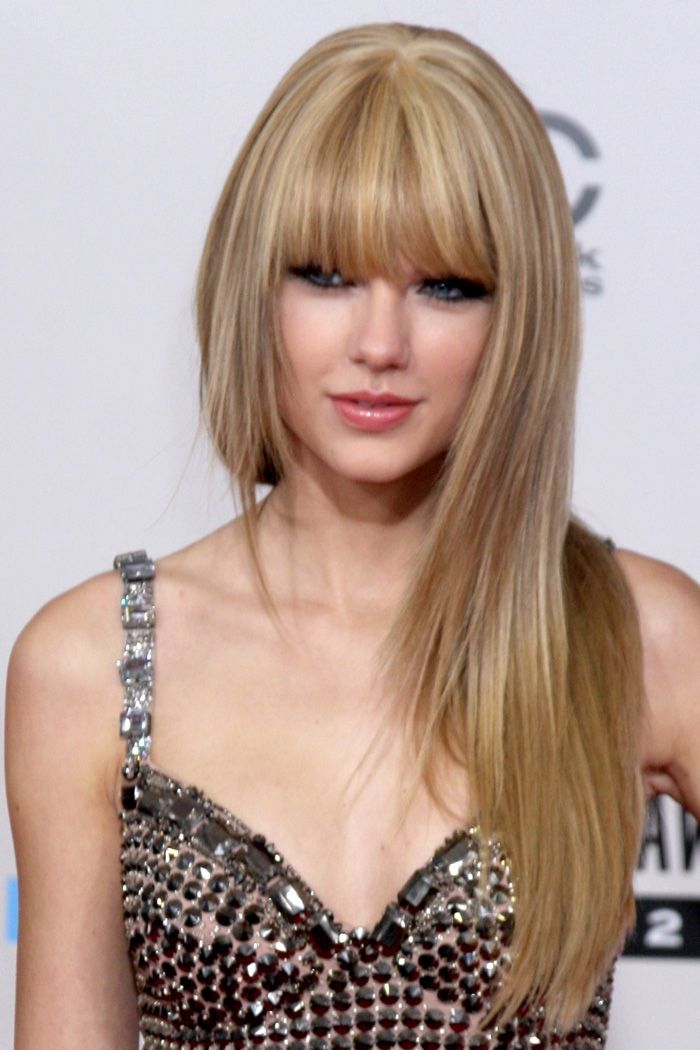 Taylor Swift Long Straight Hair Bangs Taylor Swift Hair Perfect Hair Color Oval Face Hairstyles