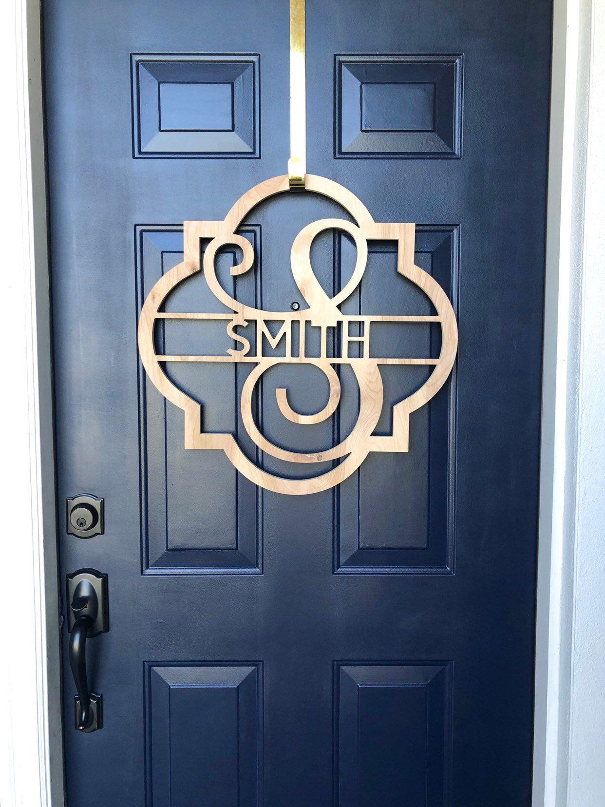 Last Name Wooden Monogram Wreath Sign For Front Door Personalized Door Hanger Wedding Gift For Couple Engagement Gift Monogram Wall Hangings Wooden Monogram Monogram Wall
