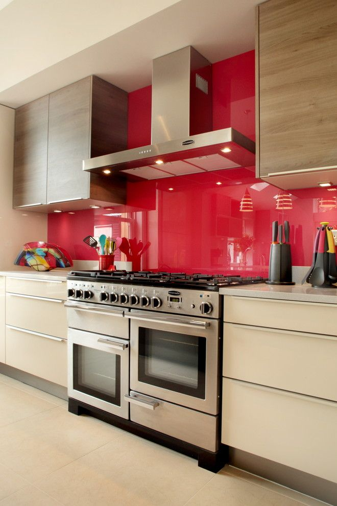All In One Kitchen Units Red And Wood Accents Built Microwave Oven Lots Of Burners Stainless Steel Wall Hood Minimalist Cabinet Get The