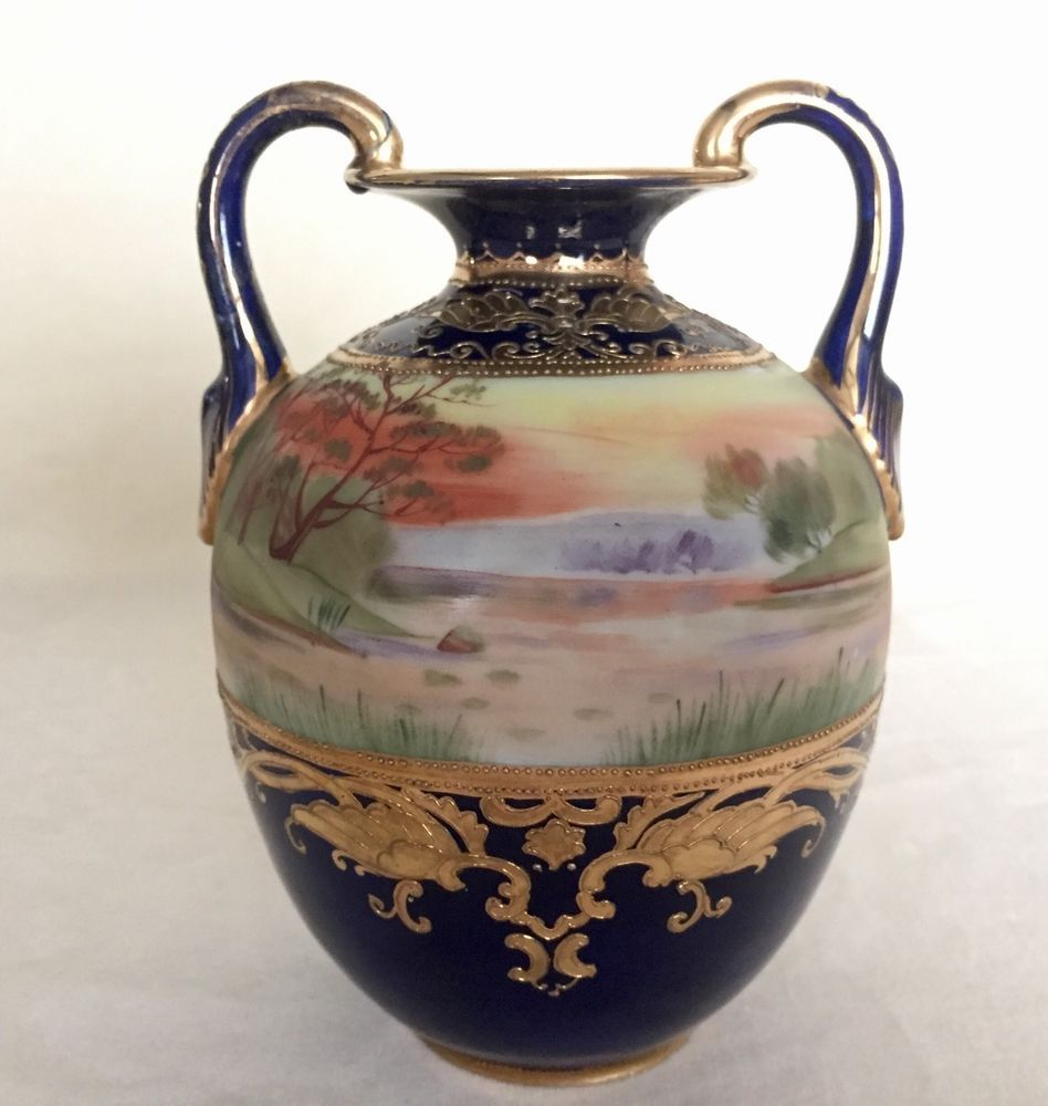 Gorgeous antique morimura bros nippon cobalt vase hand painted gorgeous antique morimura bros nippon cobalt vase hand painted scenery moriage reviewsmspy