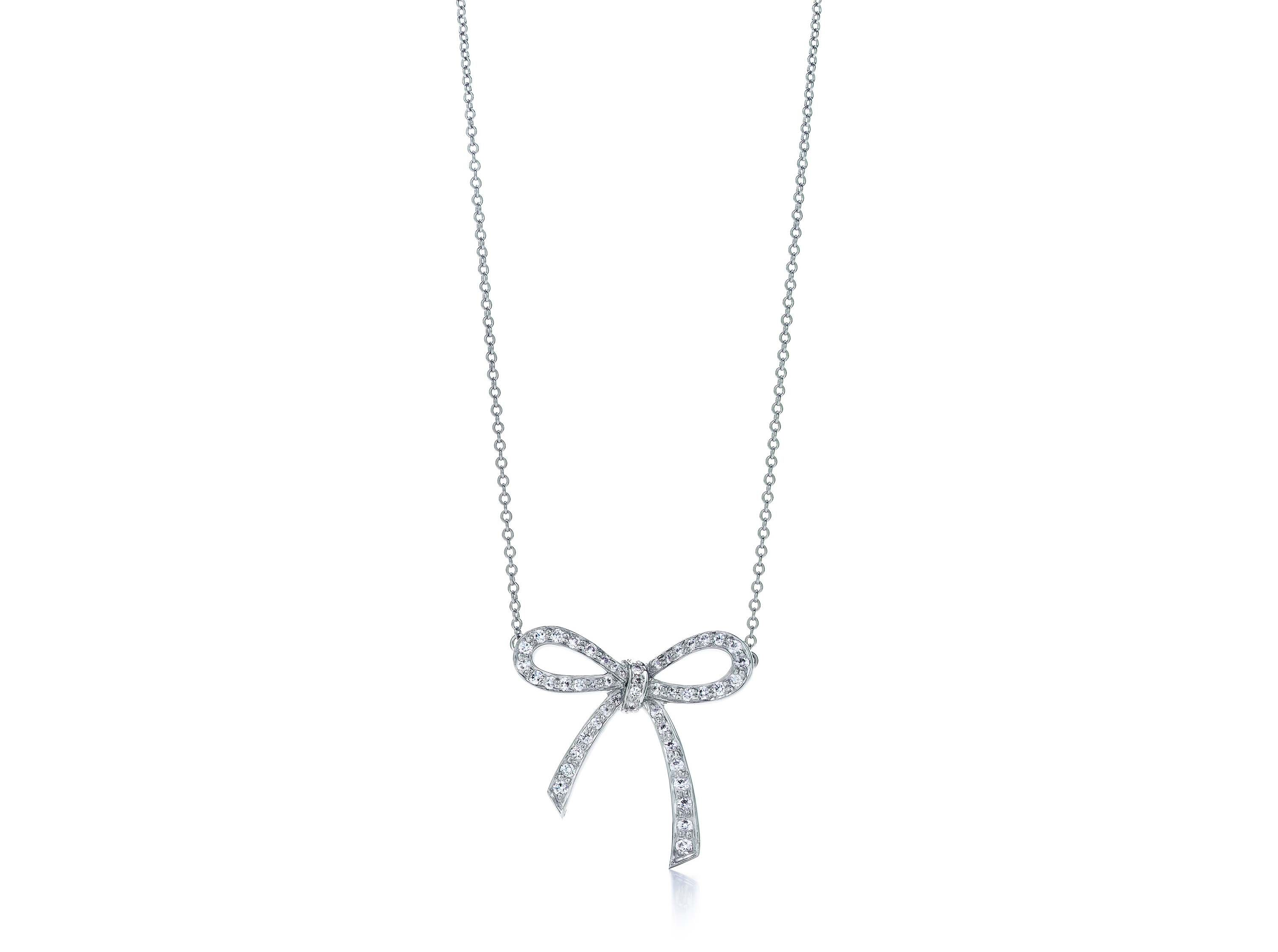 diamond bow more white views gold necklace