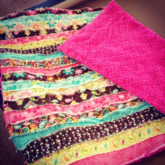 Jelly-roll rag quilt I made for my niece Claire :)