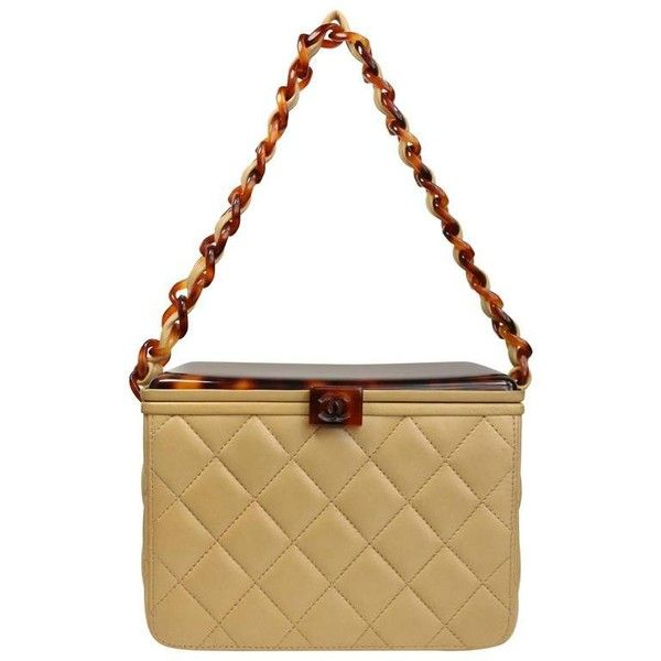 da21e6bc5ad7 Chanel Beige Leather Quilted Tortoise Lucite Top Box Bag | From a  collection of rare vintage