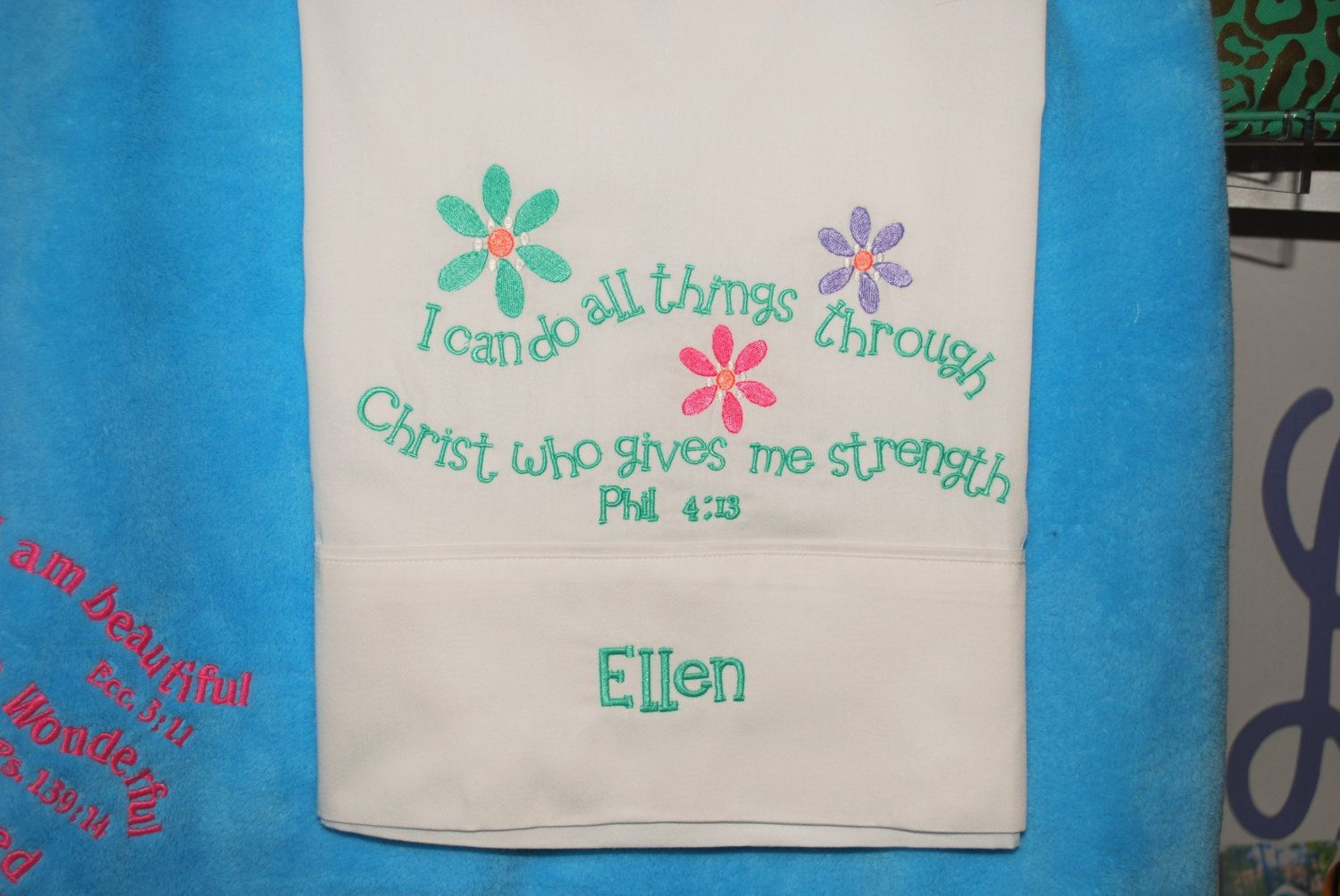 Youth Pillowcase Custom Embroidered, Original Design, Scripture, I can do  all things through Christ who gives me strength, Philippians by AsForMe on  Etsy