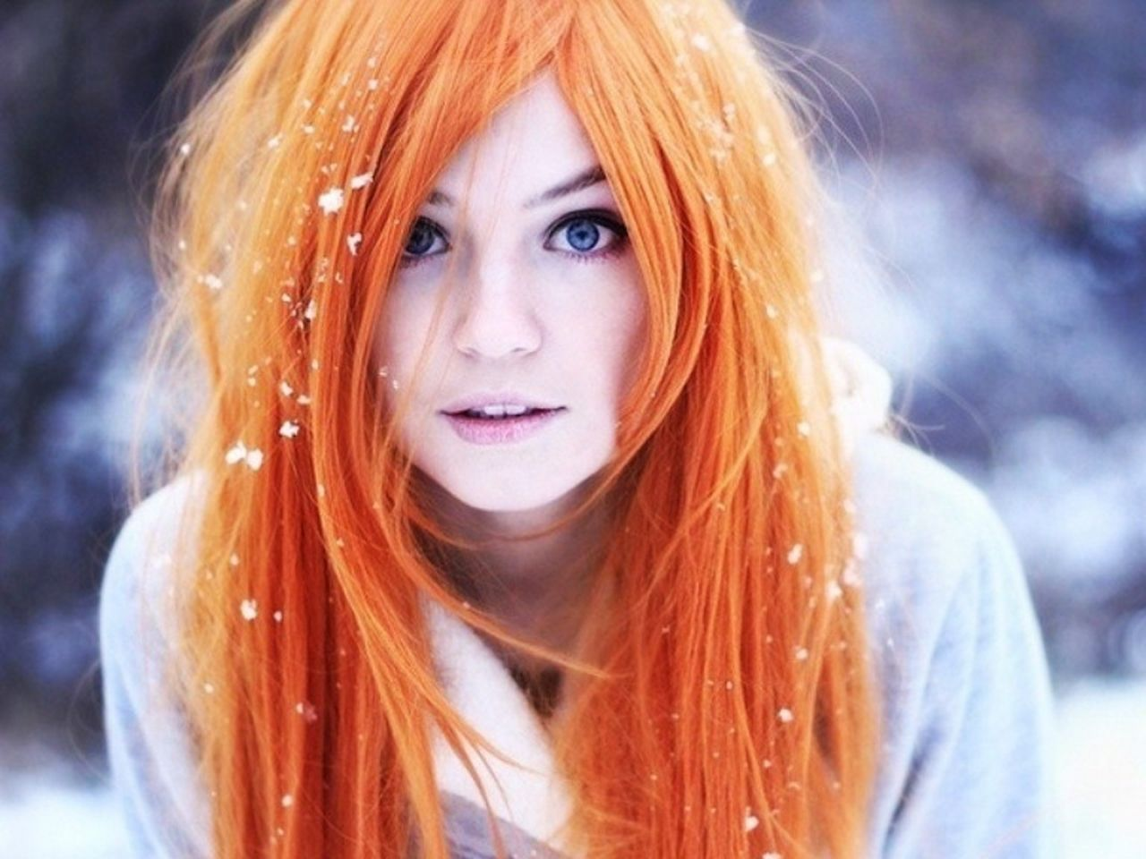 women winter snow cosplay blue eyes redheads people inoue
