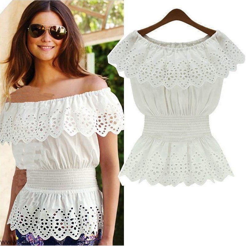 df5db4fc378d Blusa Ciganinha Branca de Lese - Blusas | DMS Boutique | Blusas ...