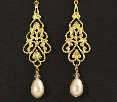 Gold Pearl Earrings Chandelier Statement Il 570xn 209210684 Parfait Bridal Filigree And Swarovski Crystals