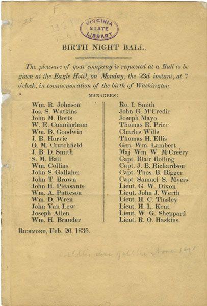 Broadside 1835 .E11 Box, Special Collections, Library of Virginia, Richmond, Virginia.