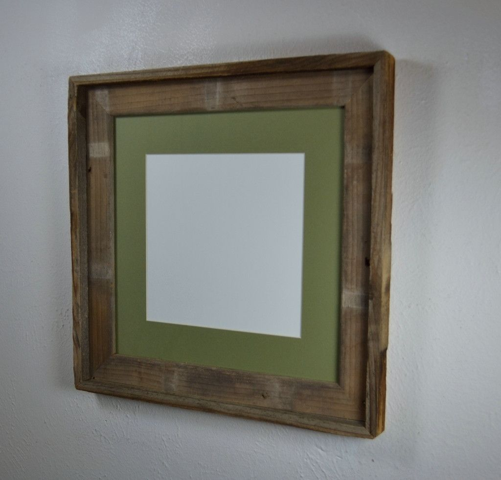 Square Picture Frame Frame For 12x12 Or With Green Mat For 8x8 Or 10x10 Prints Reclaimed Wood Frames Wood Frame Picture Frames