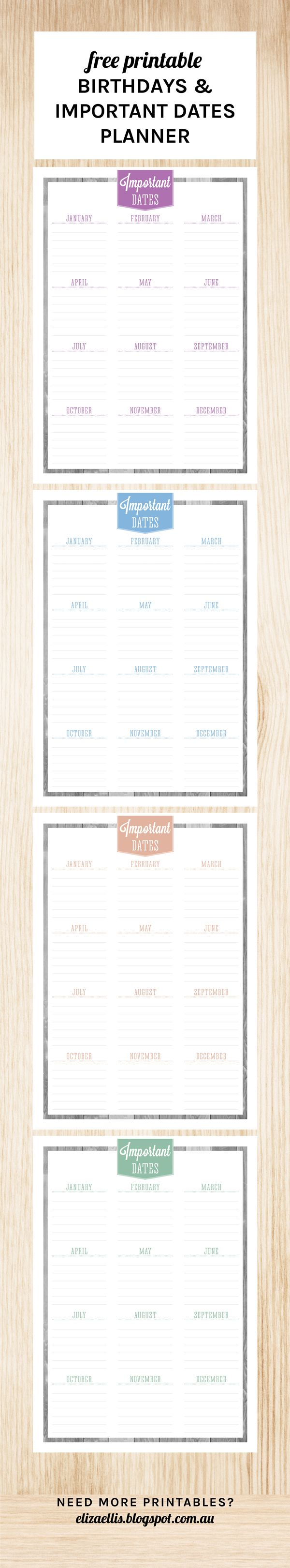 Free Printable Important Dates Planner - so you never ...