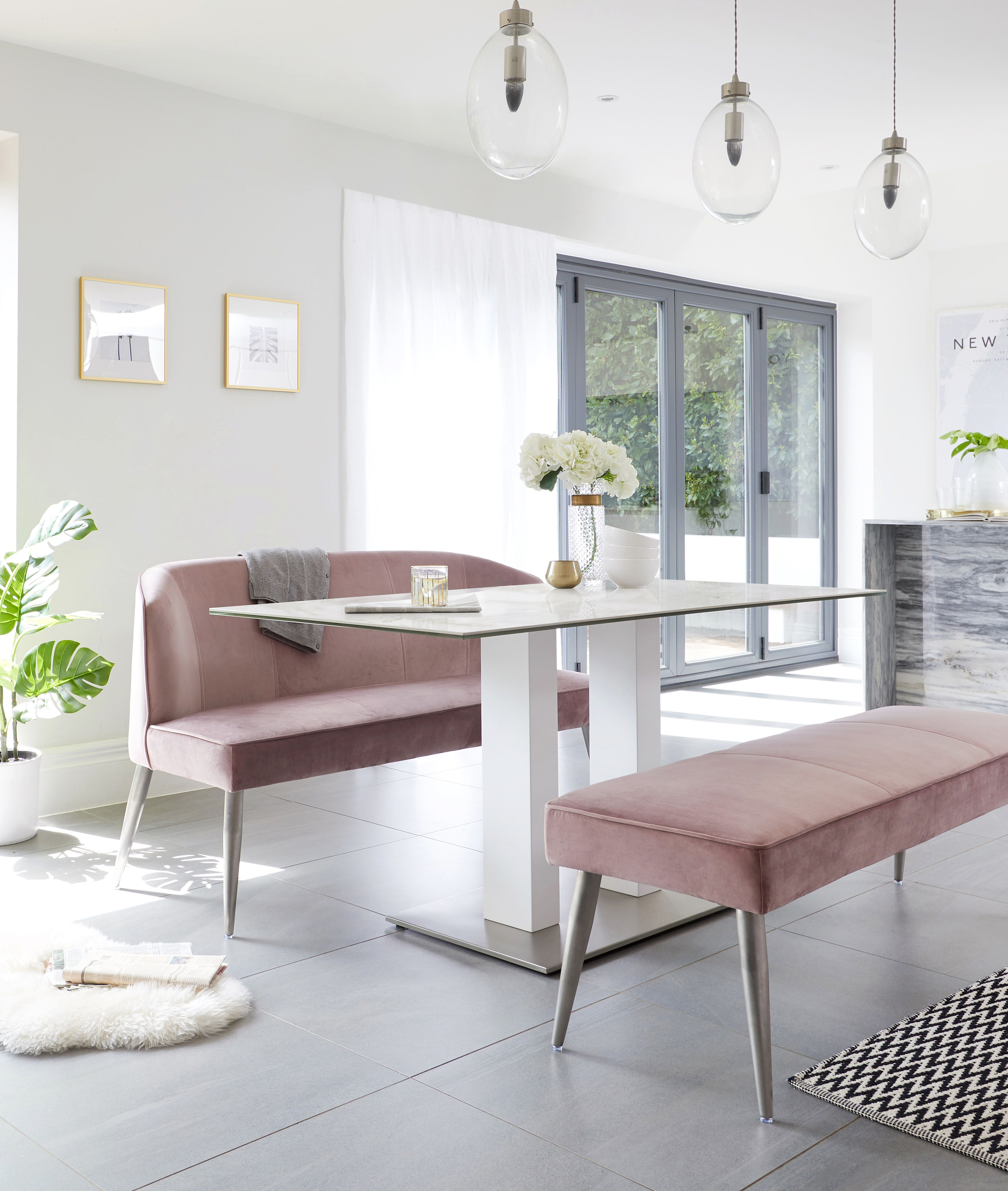 Mia Ceramic Marble Dining Table And Mellow Blush Pink Bench Set In