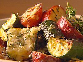 Zucchini, red potatoes, broiled Parmesan crust, fabulous!