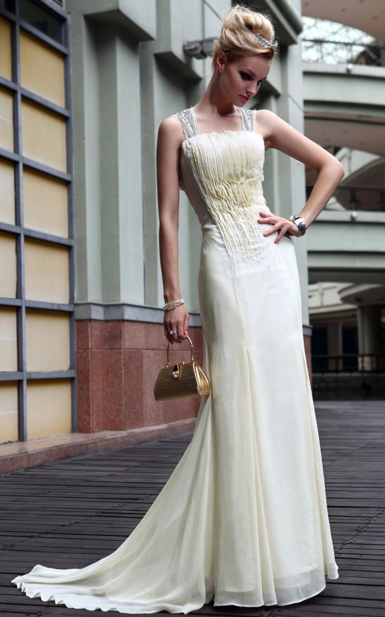 Elegant fashional ivory cocktail prom ruffle straps formal long
