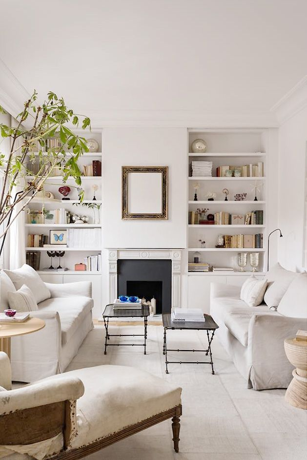 Living Room With a Light Touch  Cream Living Room Design  Thou Swell Cream living room design by Maria Santos Studio in spanish apartment in Madrid with facing sofas line...
