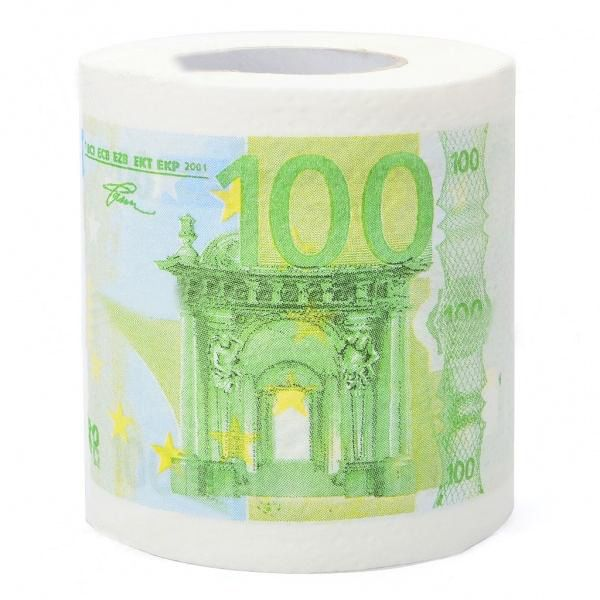 100 Euro Bill Pattern Roll Tissue White Green Pattern