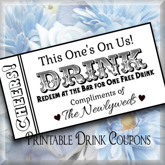 Diy Drinks Food Printables: Drink Tickets DIY Wedding Printable Instant Download