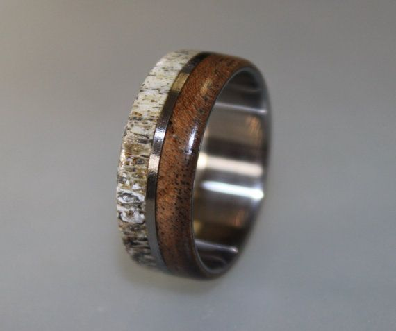 titanium ring deer antler ring mens titanium wedding band oak wood and antler inlays wood ring mens ring womens ring mens band - Deer Antler Wedding Rings