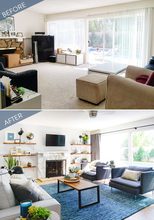 Before and after a stylish living room transformation - Living room renovation before and after ...