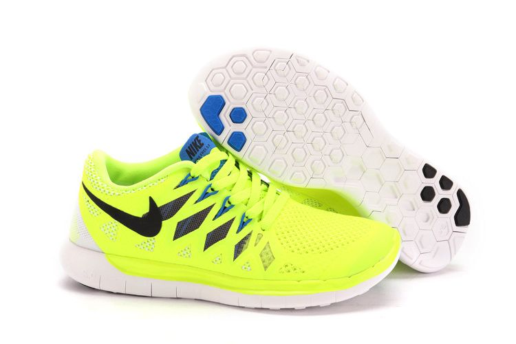 Nike Free 5.0+ 2014 Womens Black Fluorescence Green White Training Shoes