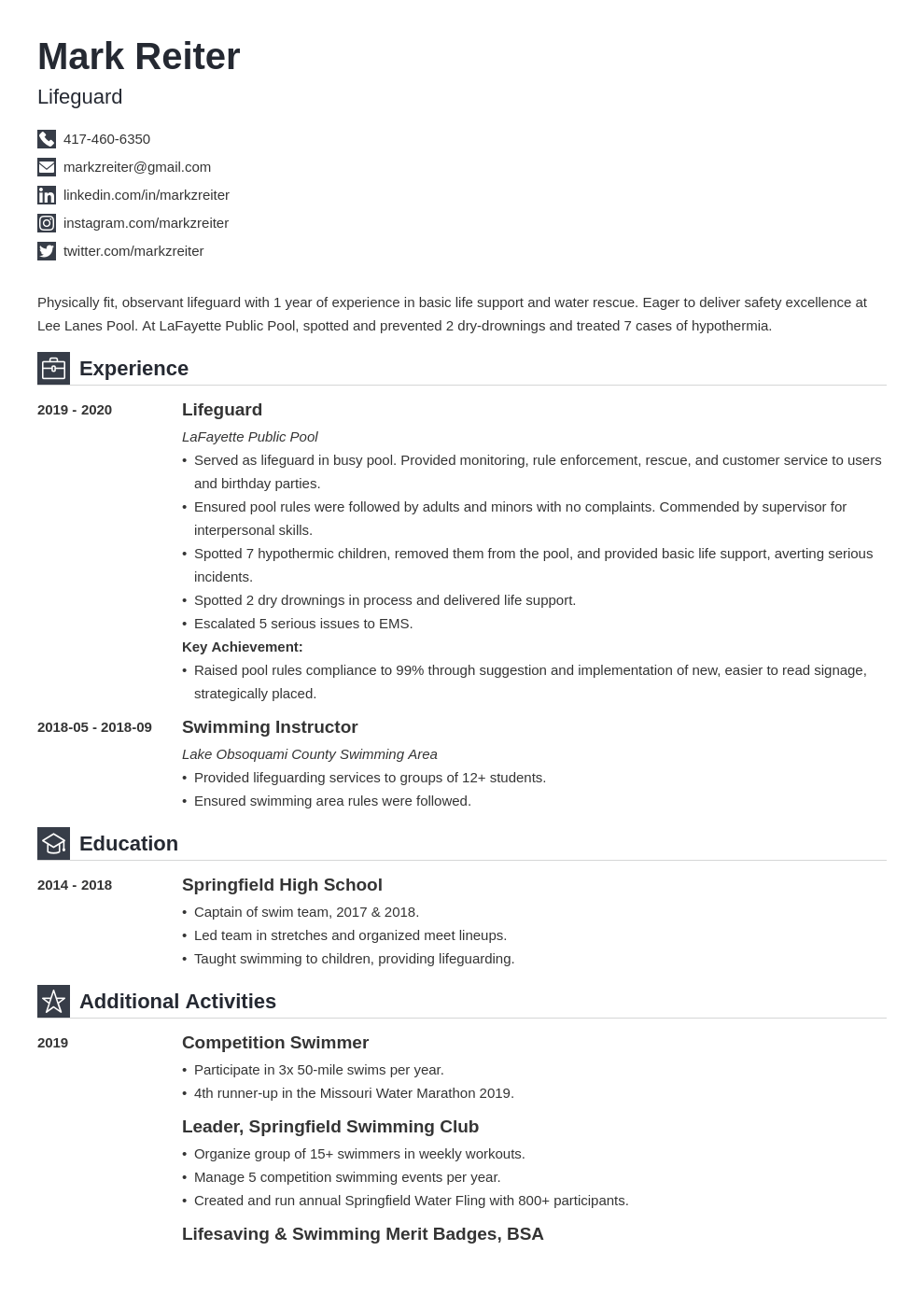 Lifeguard Resume Example Template Iconic In 2020 Resume Examples Job Resume Examples Resume