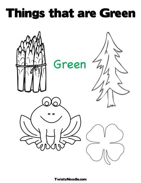 Things That Are Green Coloring Page From TwistyNoodle