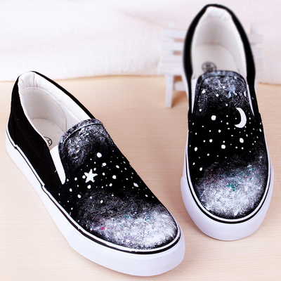 Moon stars black hand painted shoes from Sanrense | Design