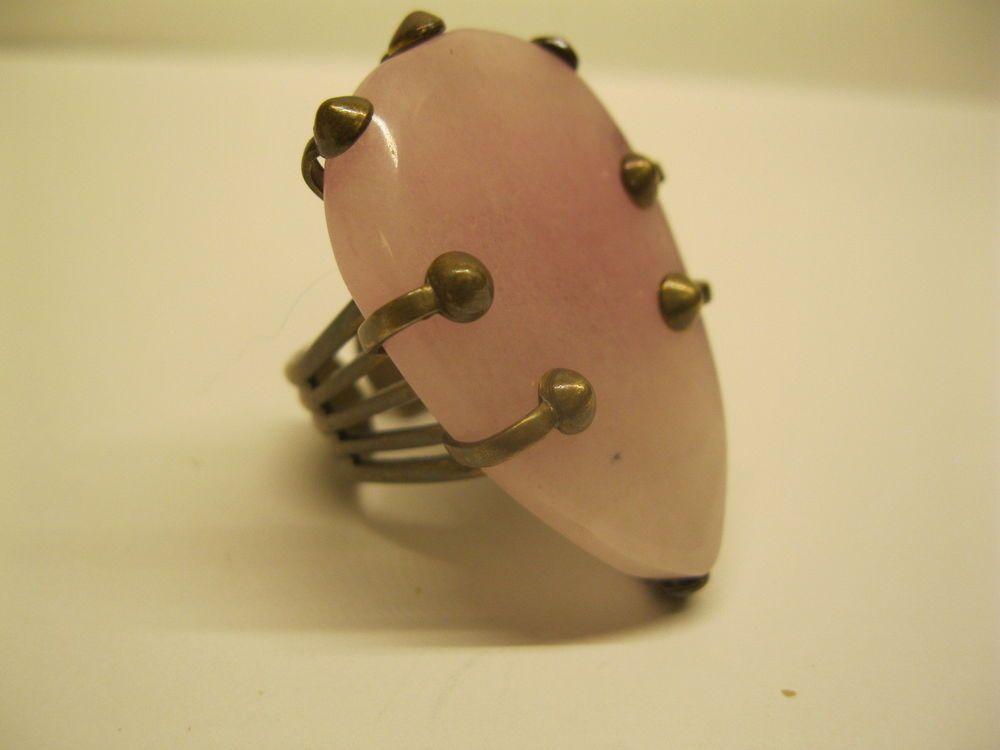 Signed Jan Michaels Large Pink Gemstone Adjustable Ring  Sz 7.5 #JanMichaels #Solitaire