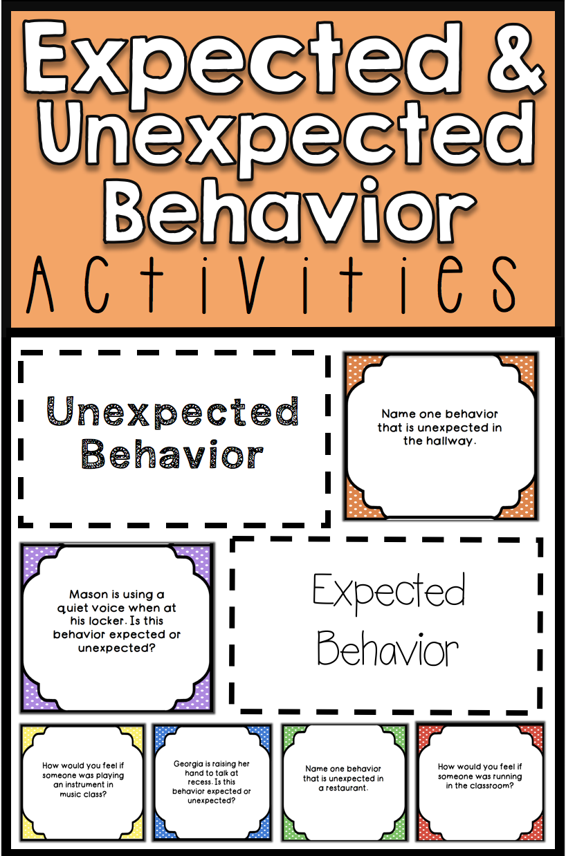 worksheet Expected And Unexpected Behaviors Worksheet expected v unexpected behavior activities cards group activities
