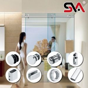 Source 8mm frameless sliding European stainless steel roller shower doors on m.alibaba.com #framelessslidingshowerdoors