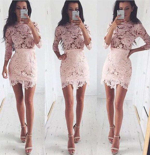 Fancy Scalloped Neck 3/4 Sleeves Pink Sheath Lace Homecoming Dress ...