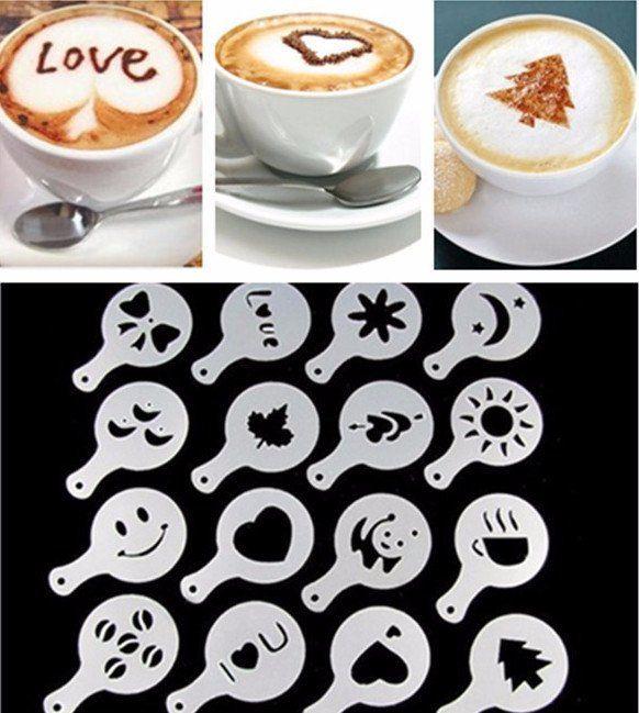 Coffee Barista Stencils - 16 Piece Set