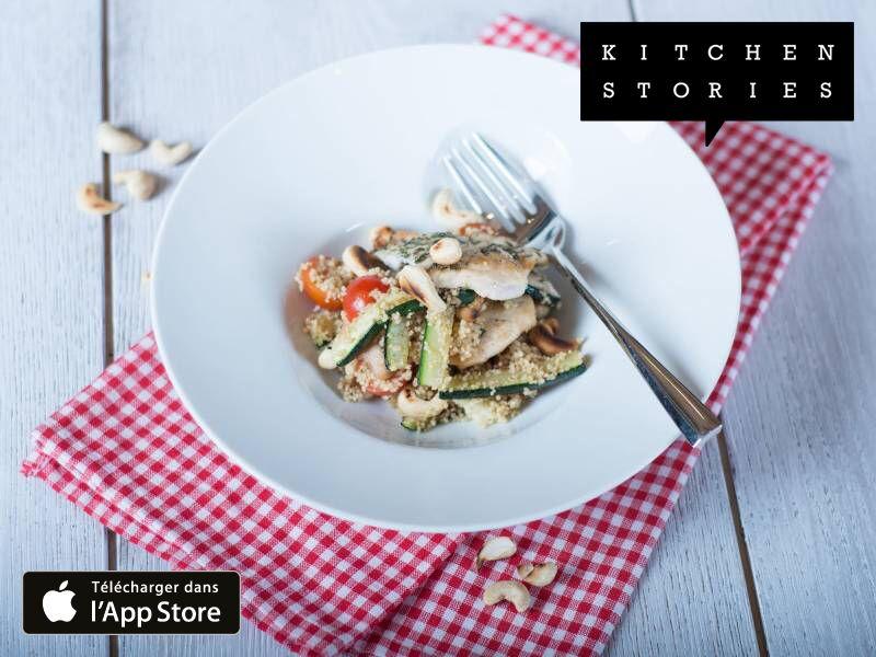 Je cuisine Couscous froid d'été au poulet et aux courgettes avec Kitchen Stories. C'est vraiment délicieux ! Obtiens la recette maintenant: http://getks.io/fr/3276