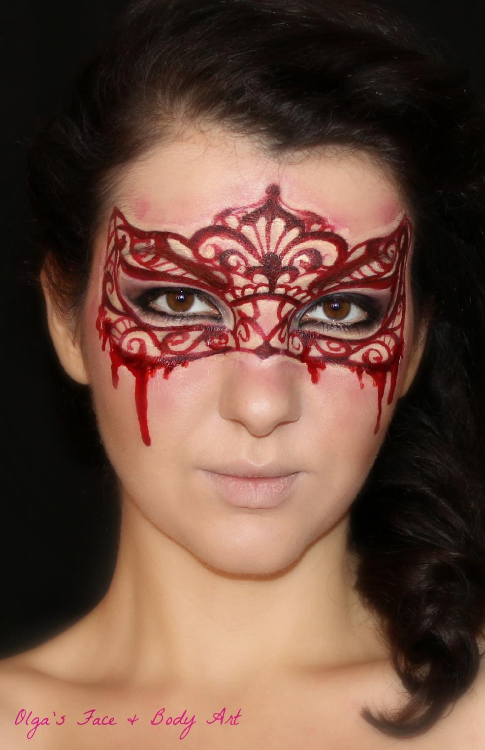 olga meleca halloween design face painting bloody maskerade mask face painting pinterest. Black Bedroom Furniture Sets. Home Design Ideas
