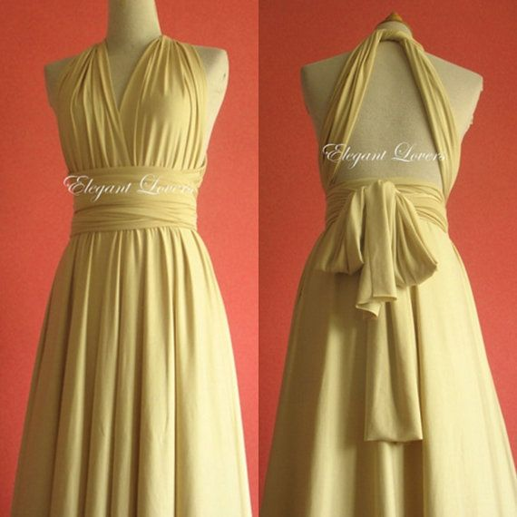 Convertible Dress Champagne Wedding Dress Bridesmaid Dress Infinity Dress Wrap Dress Evening Cocktail Party Long Maxi Prom Bridal Dresses
