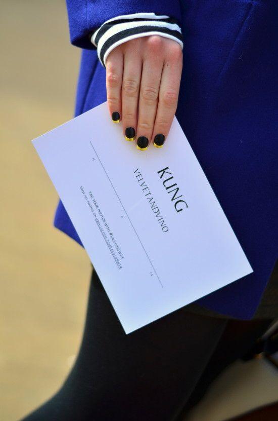 Gold-tip mani for @Lacoste Fashion Show @Mercedes-Benz Fashion Week velvetandvino.com