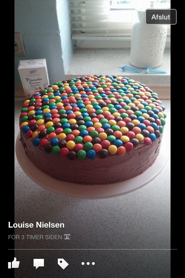 Chokoladekage med m&m's