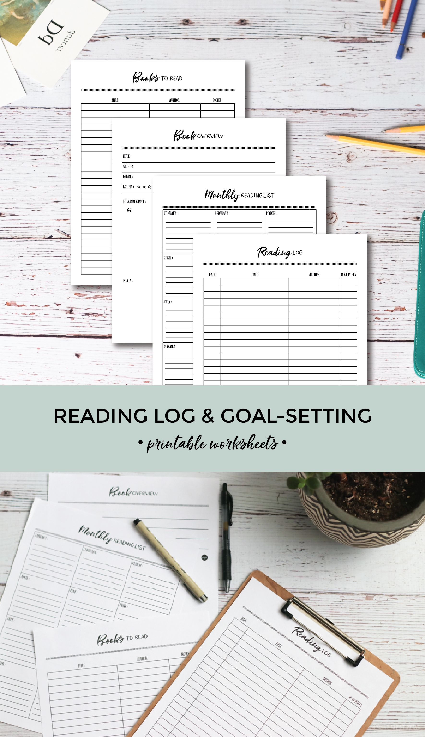 Printable Reading Log Amp Goal Setting Worksheets