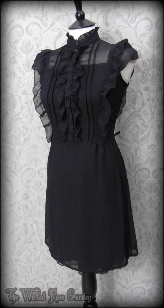 Victorian Gothic Black Ruffle High Collar Dress 10 Elegant Vintage Victoriana The Wilted Rose Garden