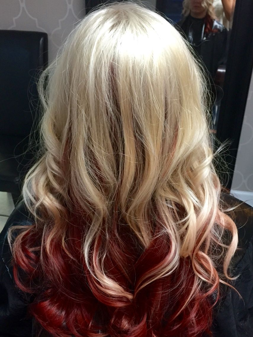 Platinum Blonde With Red Underneath Done By Angel Ross Red Hair