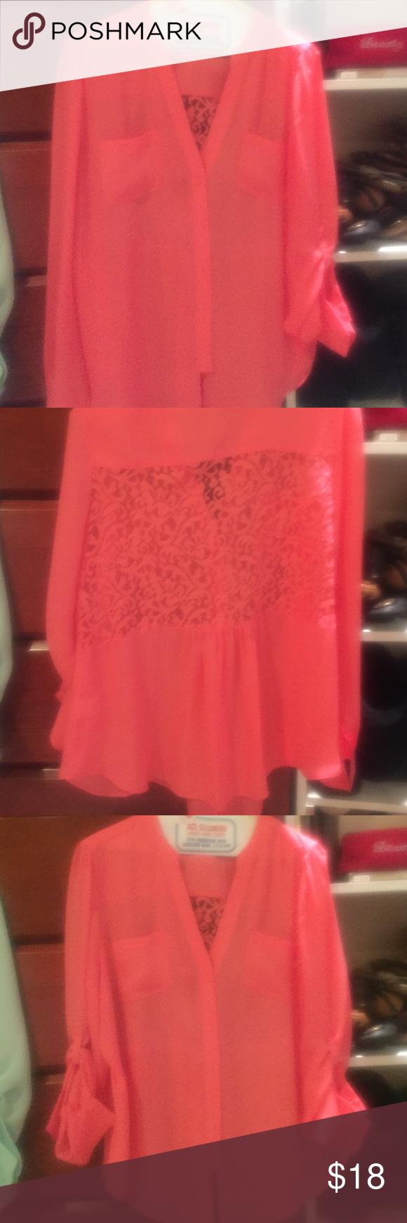 Candies Sheer XL shirt orange! Candies sheer XL shirt! Candie's Tops Blouses